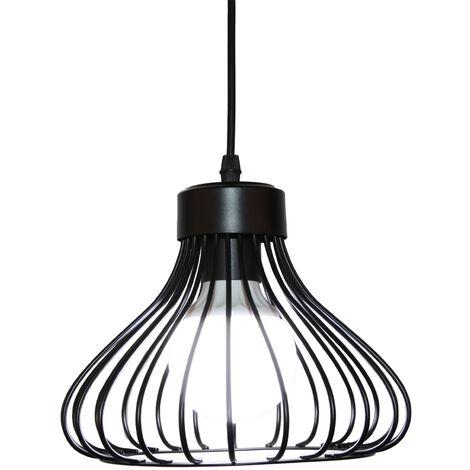 Lámpara de Techo forma de Bola Plano de Red de Hierro Luz Colgante Ø23cm Diseño Creativo Industial Vintage Iluminación para Cocina Sala café (Negro)