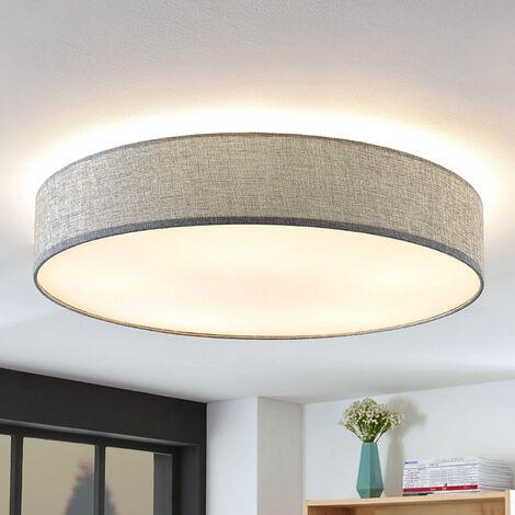 Lámpara de techo Gordana de lino gris, 76 cm