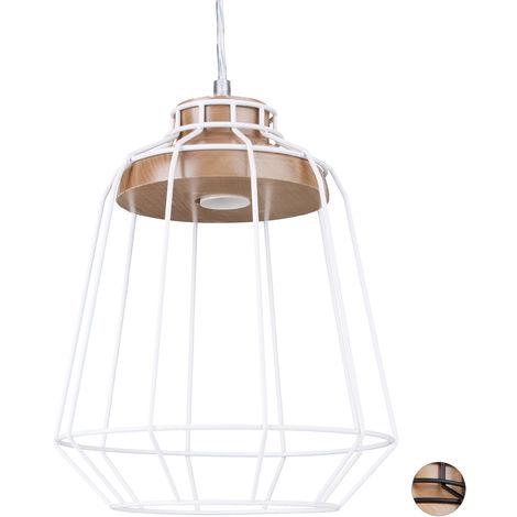 Lámpara de techo GRID, Diseño de rejilla, Forma de diamante, Metal & Madera, 135x25x25 cm, Blanco