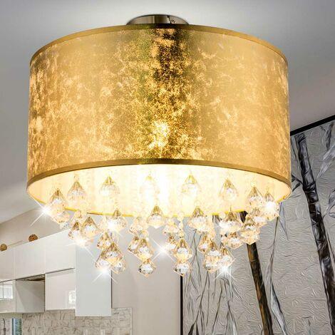Lámpara de techo habitación de invitados habitación de tela pantalla de cristal lámpara hoja oro diseño Globo 15187D3S