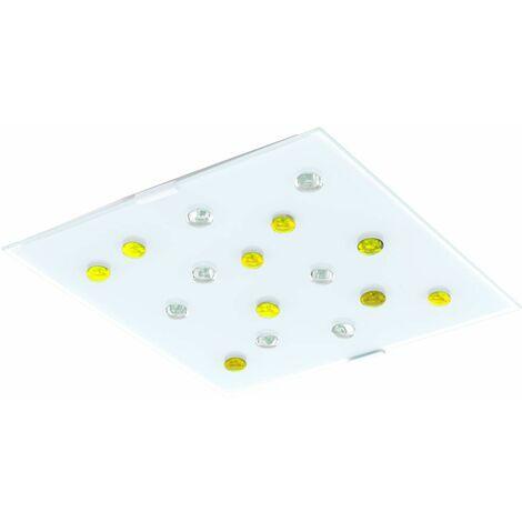 Lámpara de techo habitación de invitados piedras de cristal amarillo blanco claro pasillo iluminación lámpara satinada Eglo 87311O