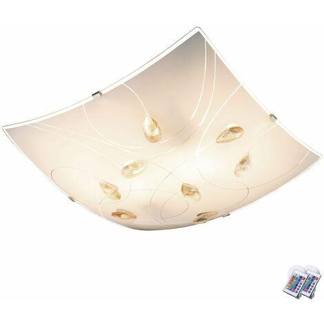 Lámpara de techo habitaciones cristales control remoto incl luz satén. LED RGB Set bombillas