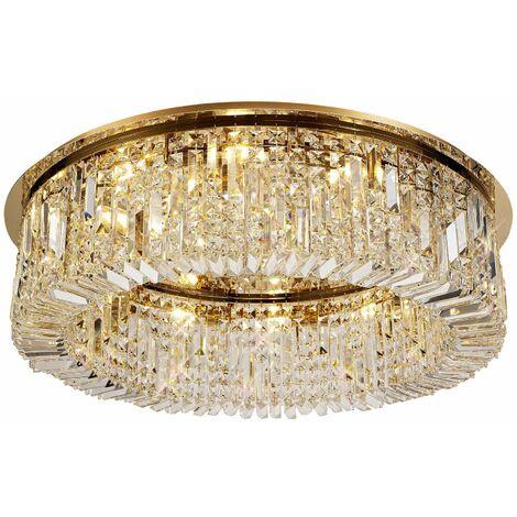 Lámpara de techo Hektor Crystal 12 Bombillas Dorado 9 Cm