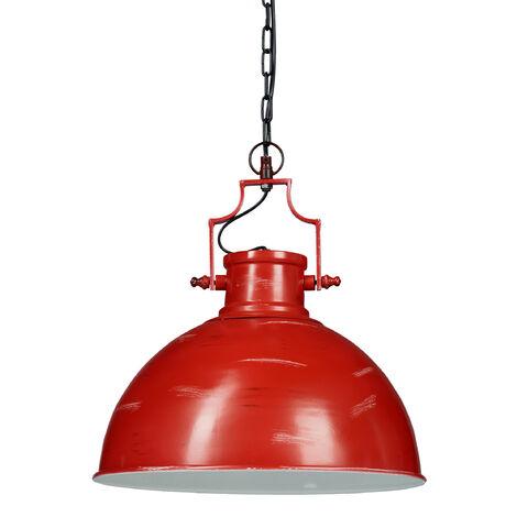 Lámpara de techo industrial, Con cadena, Un foco, Iluminación de ambiente, Hierro, 154x41x41 cm, 1 Ud., Rojo