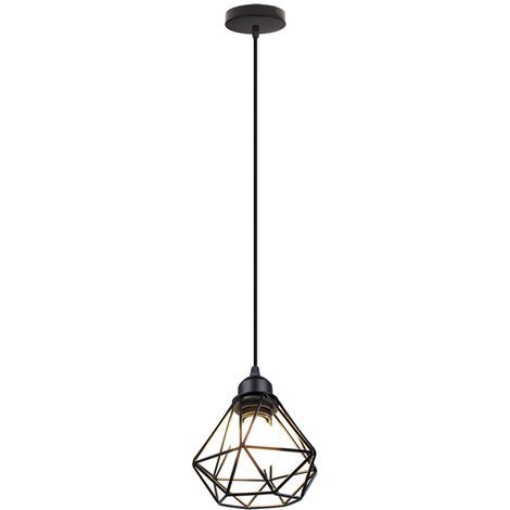 Lámpara de Techo Industrial de Diamante Lámpara Colgante de Metal Vintage Negro Lámpara de Araña Retro para Dormitorio Cafe Bar Interior