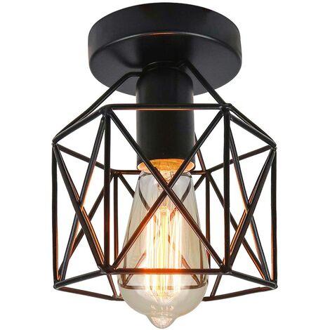 Lámpara de techo industrial industrial de langray Luminaria de la luz del techo de la vendimia para la entrada, el porche, el pasillo, el comedor. (Black1)