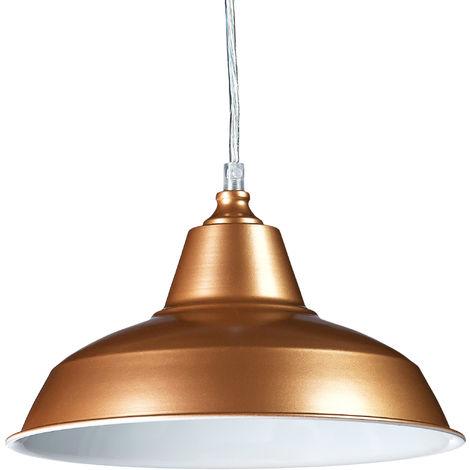 Lámpara de techo industrial, Lámpara colgante, Un foco, 112 x 28 x 28 cm, Cobre