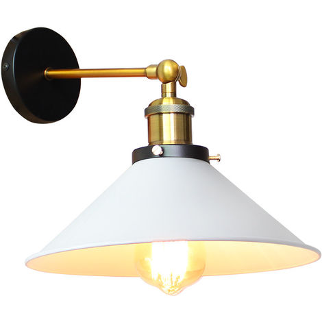 Lámpara de Techo Industrial Loft Retro Lámpara de Pared de Hierro de Metal Lámpara de Brazo Oscilante para Lectura de Cabecera Cafe Blanco 26 cm