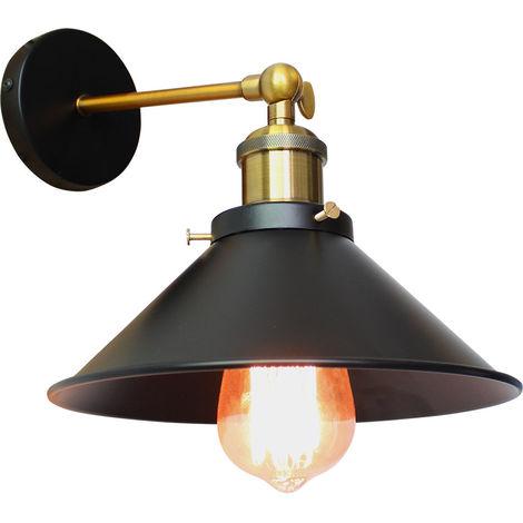Lámpara de Techo Industrial Loft Retro Lámpara de Pared de Hierro de Metal Lámpara de Brazo Oscilante para Lectura de Cabecera Cafe Negro 26 cm
