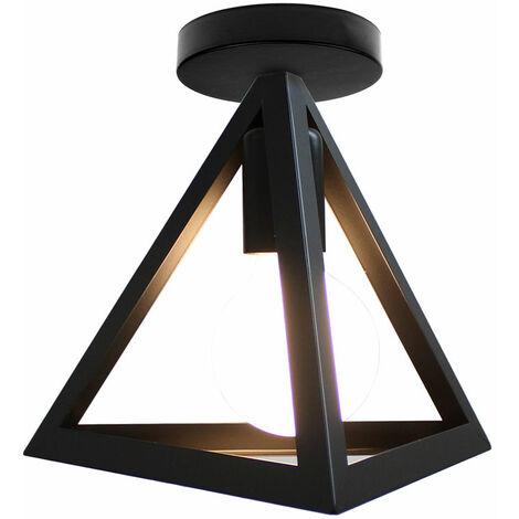 Lámpara de Techo Industrial Retro Luz de Techo Triángulo Creativo Lámpara de Techo de Metal de Hierro Negra