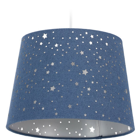 Lámpara de techo infantil, Estrellas, Iluminación colgante para niños, Pantalla redonda, Azul