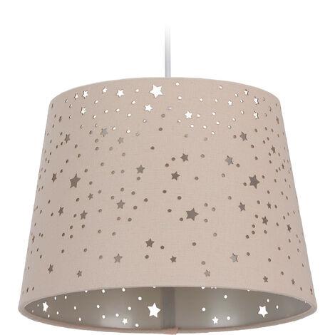 Lámpara de techo infantil, Estrellas, Iluminación colgante para niños, Pantalla redonda, Rosa