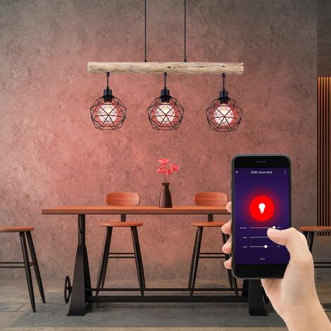 Lámpara de techo inteligente lámpara colgante de vigas de madera regulable controlable a través de la aplicación del idioma del teléfono móvil en un conjunto que incluye lámparas LED RGB