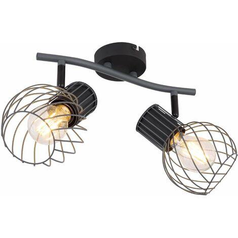 Lámpara de techo jaula de metal ligero 2 llamas iluminación focos puntos móviles