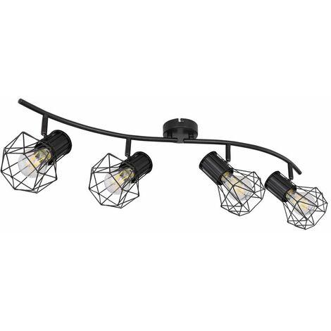 Lámpara de techo jaula puntos lámpara de comedor riel de luz ajustable negro  Globo 54017-2