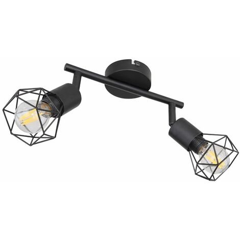 Lámpara de techo jaula spot proyector barra ajustable lámpara negro salón iluminación Globo 54802S-2