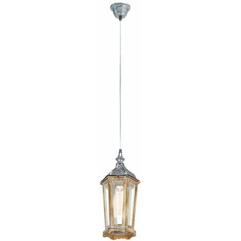 Lámpara de techo lámpara colgante de madera sala de estar jardín de invierno péndulo marrón claro plateado Eglo 49206E