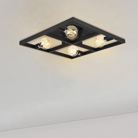 Lámpara de techo Larisa 59,5 x 59,5 x 12 cm Diseño Lámpara con marco cuadrado Luz interior Metal Negro