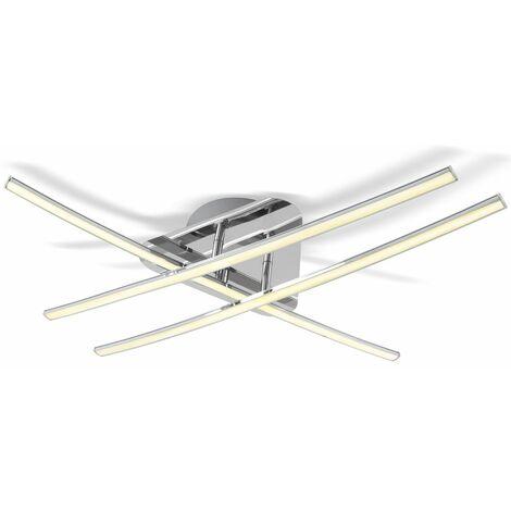 Lámpara de techo LED 3x8W, Color níquel mate, 3 placas de luz, Lampara de salón moderna en metal y plástico, 230 V, IP20