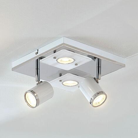 Lámpara de techo LED Alsuna, 4 luces, 24x24cm