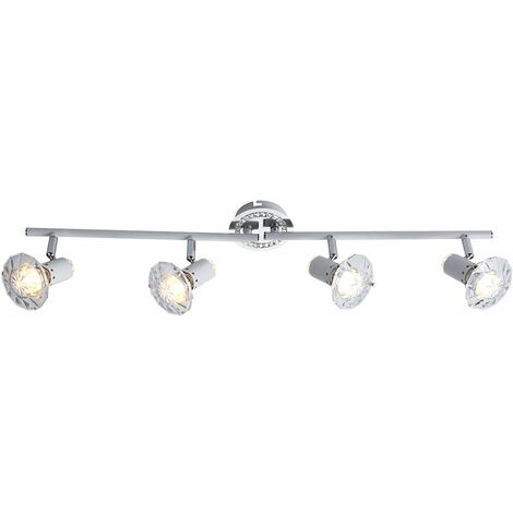 Lámpara de techo LED, barra de punto cromada, sala de estar móvil, luz de punto de cristal Globo 57303-4