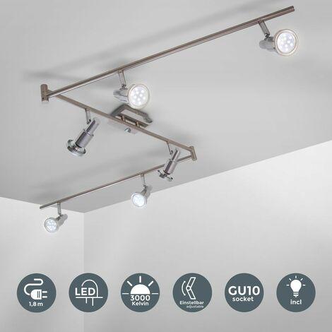 Lámpara de techo LED con focos giratorios incl. 6 x 5W LED bombillas, Luz blanco cálido 3000K 230V, IP20, Orientable