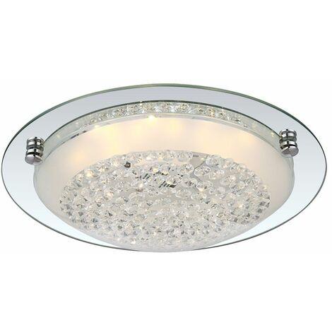 Lámpara de techo LED de 12 vatios ronda cristal cristales espejo anillo iluminación Globo 48249
