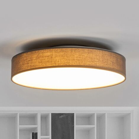Lámpara de techo LED de tela Saira, 40 cm, gris