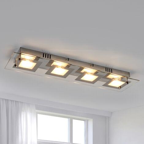 Lámpara de techo LED longitudinal Manja con cromo