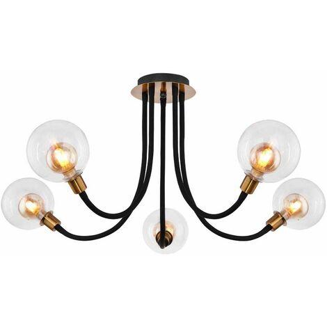Lámpara de techo LED Luz de metal Brazos antiguos dorados Iluminación de bola de cristal movible