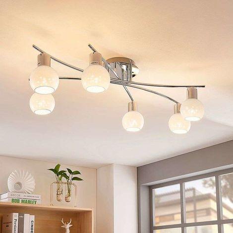 Lámpara de techo LED Matthea ópalo, 6 brazos