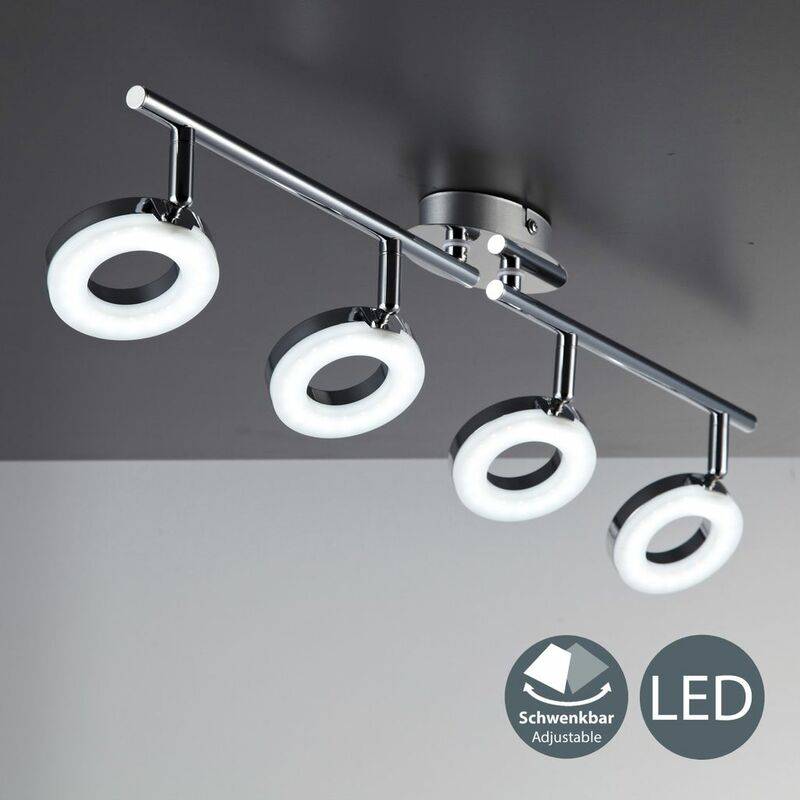 Lámpara de techo LED moderna incl. 4x4,5W bombillas I Orientables y giratorios I Color Cromado I 230V IP20 I Plástico y metal I Longitud: 685mm