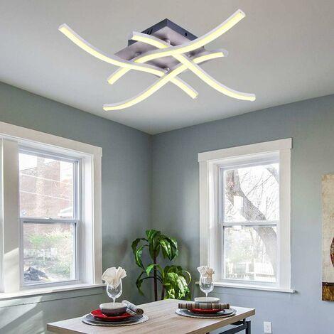 Lámpara de Techo LED Moderna Lámpara de Araña Creativa Moderna Curvada con 4 PCS Cabezas de Luz en Forma de Onda para Sala de Estar Dormitorio Comedor (28W 4 Luces Blanco Cálido)
