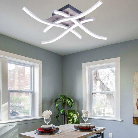 Lámpara de Techo LED Moderna Lámpara de Araña Creativa Moderna Curvada con 4 PCS Cabezas de Luz en Forma de Onda para Sala de Estar Dormitorio Comedor (28W 4 Luces Blanco Frio)