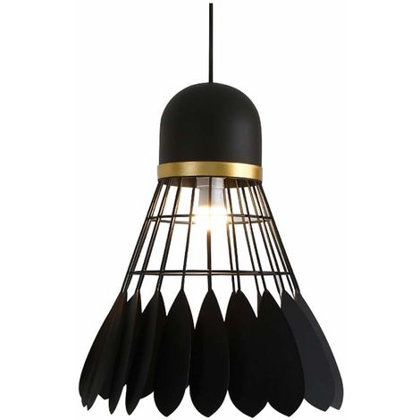 Lámpara de techo LED nórdica moderna Bádminton Luces colgantes simples Portalámparas E27 Pantalla de metal Sala de estar, Comedor, Dormitorio Iluminación creativa personalizada ajustable (Negro)