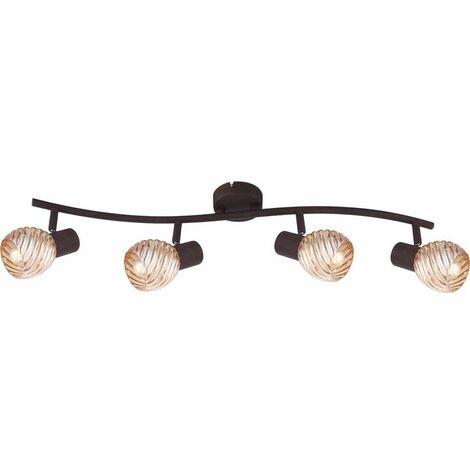Lámpara de techo LED óxido barra de foco para sala de estar lámpara de vidrio ajustable ámbar Globo 54644-4