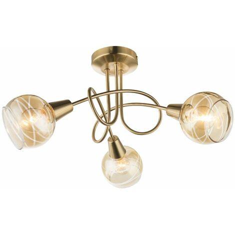 Lámpara de techo LED RGB inteligente, punto de vidrio dorado, foco redondo, luz ámbar para sala de estar, aplicación de voz regulable a través del teléfono móvil