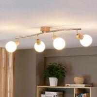 Lámpara de techo LED Svenka efecto madera, 4 focos