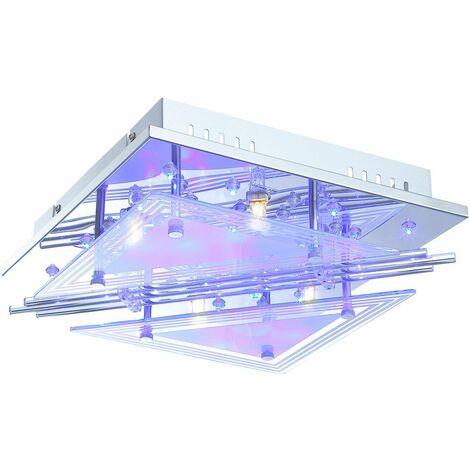 Lámpara de techo LED varillas de vidrio salón proyector luz cromada CONTROL REMOTO Globo 68246-4