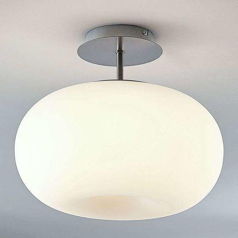 Lámpara de techo LED vidrio opalino Aglaja blanca