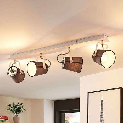 Lámpara de techo Levi, 4 pantallas de tela en gris