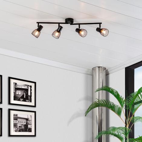 Lámpara de Techo Lineal Orientable Grid 4 Focos Negro Negro