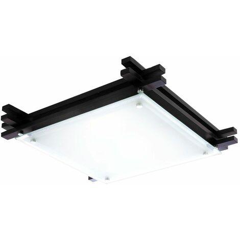 Lámpara de techo living comedor dormitorio madera lámpara de vidrio negro satinado CONTROL REMOTO cambiador de color foco en un juego que incluye lámparas LED RGB