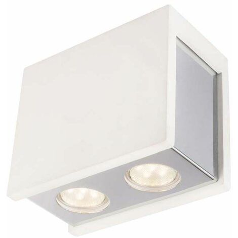 Lámpara de techo luminaria iluminación yeso blanco metal cromado salón dormitorio