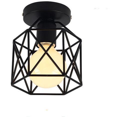 Lámpara de Techo Luz Colgante Cubo Jaula de hierro Creativo Metal Simple Retro Iluminación Industrial Araña Decorativa para Restaurante Bar (Negro)