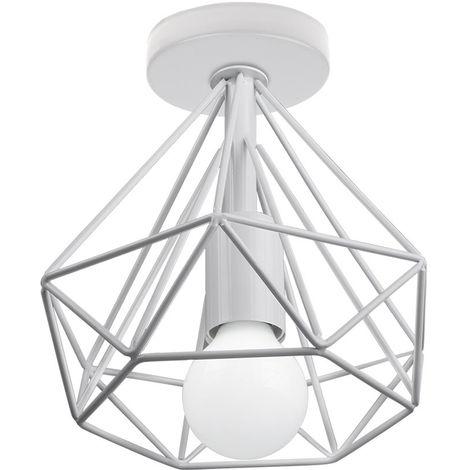 Lámpara de Techo Luz Colgante Forma de Diamante 20cm Pirámide Cono de Moda Hueca Moderna Creativo Simple Ø20cm para Cafetería Restaurante Comedor Bar (Blanco)
