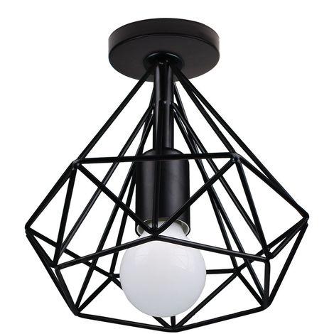 Lámpara de Techo Luz Colgante Forma de Diamante 20cm Pirámide Cono de Moda Hueca Moderna Creativo Simple para Cafetería Restaurante Comedor Bar (Negro)