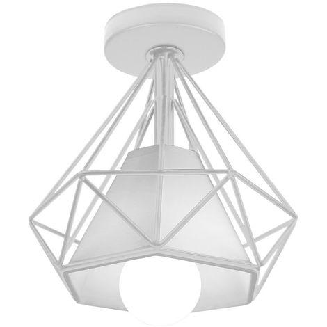 Lámpara de Techo Luz Colgante Forma de Diamante Pirámide Cono de Moda Hueca Moderna Creativo Simple Ø20cm para Cafetería Restaurante Comedor Bar (Blanco)
