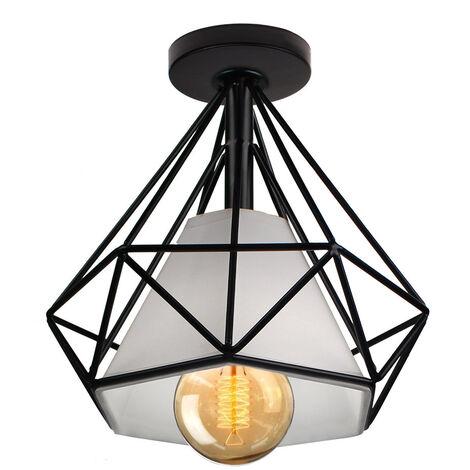 Lámpara de Techo Luz Colgante Forma de Diamante Pirámide Cono de Moda Hueca Moderna Creativo Simple Ø20cm para Cafetería Restaurante Comedor Bar (Negro)