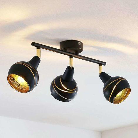 Lámpara de techo Lynette negro-oro 3 luces larga
